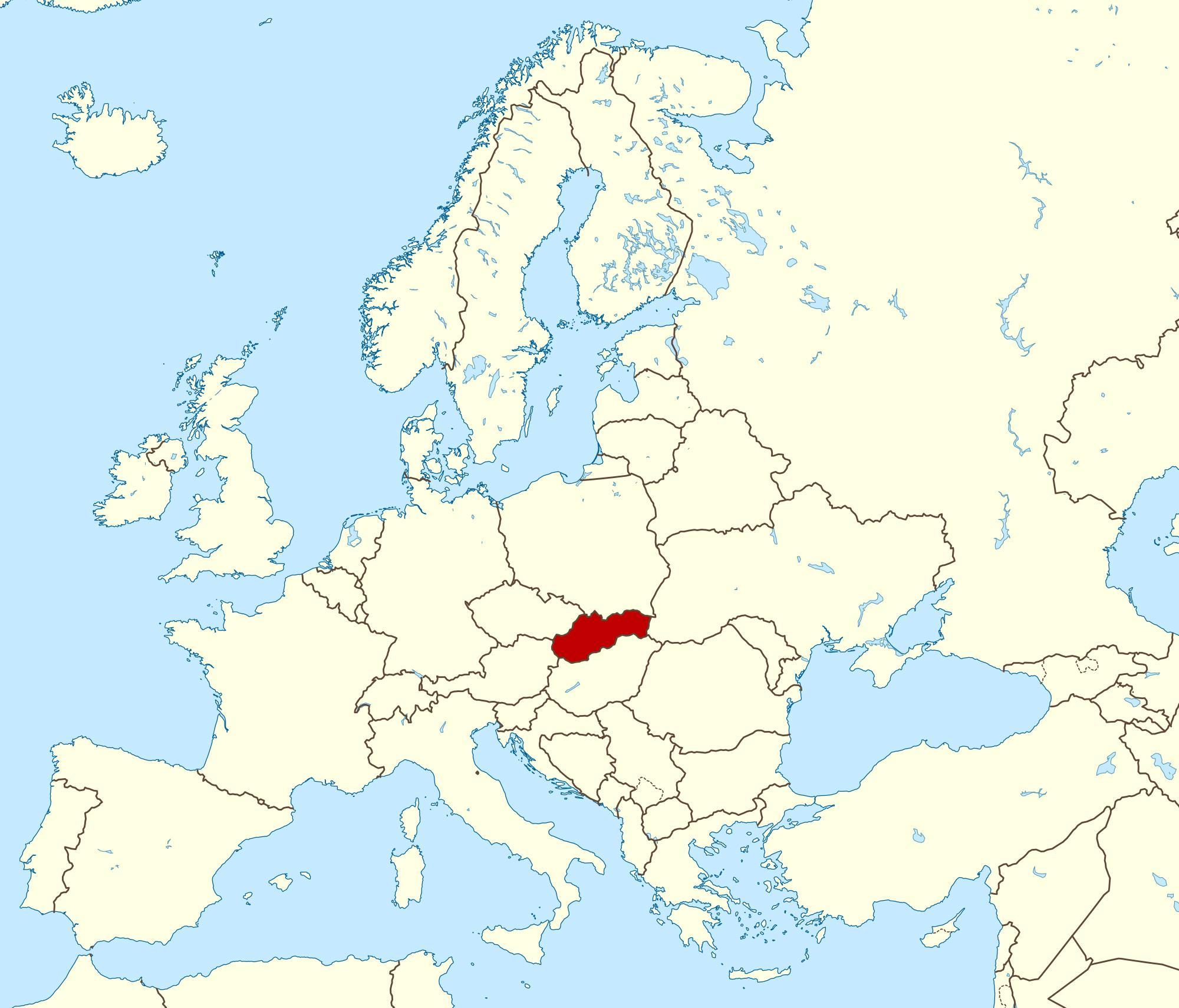 Slovakia Kartta Euroopan Kartta Slovakia Kartta Eurooppa Ita