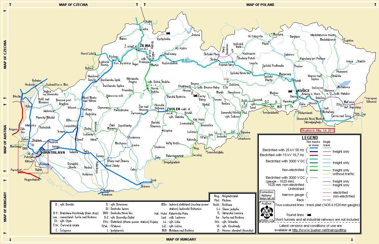 Slovakian Rautateiden Kartta Slovakia Juna Kartta Ita Eurooppa